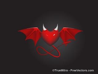 Demonio corazón con alas y cuernos