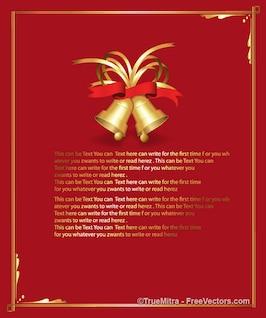 Tarjeta de Navidad con el marco y las campanas en la parte superior