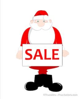 Santa lindo holding etiqueta de venta