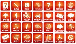 Paquete de iconos de los medios rojos