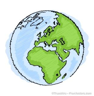 Tierra dibujo iconos artísticos conjunto de vectores