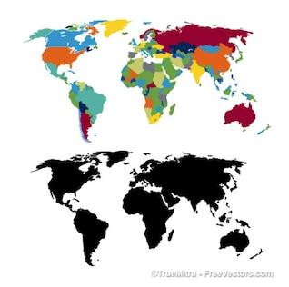 Mapa del mundo empresarial cartografía negro colorido viajes de inteligencia