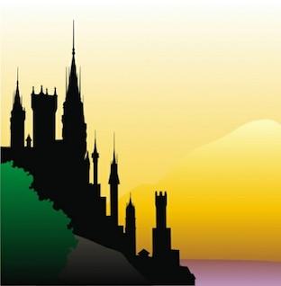 Silueta del castillo en el fondo vector acantilado