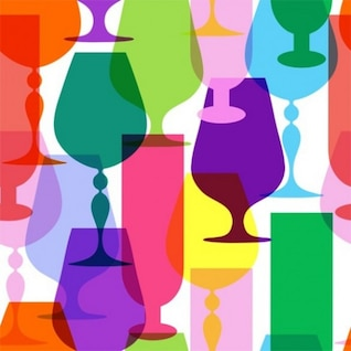 Colores brillantes siluetas tallo de vidrio