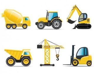 Vehículos nuevos y relucientes construcción