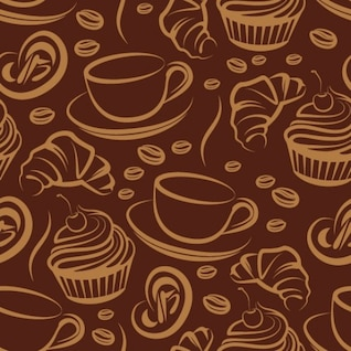 Patrón de café marrón con tazas de café
