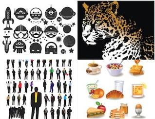 Jaguar extranjeros siluetas de los alimentos