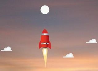 Rocket a la luna ilustración vectorial de dibujos animados