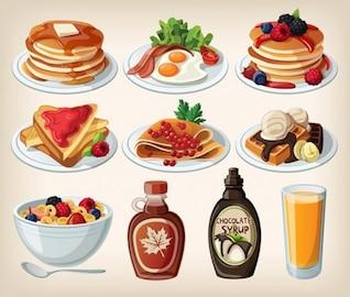 Desayuno dibujos animados placas comida delicius