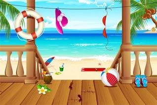 Lugar de vacaciones tropical en el océano