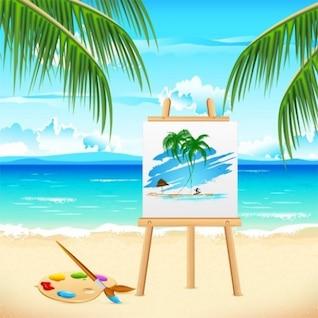 Relajante vacaciones tropicales con caballete y paleta