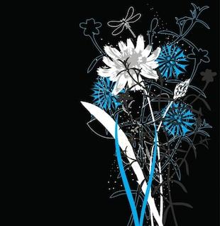 Ramo de flores de verano con el fondo oscuro