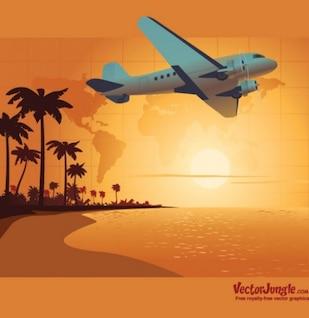 Billetes de viajes Tropical fondo vector
