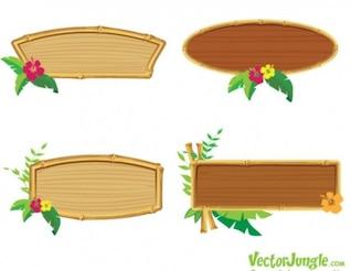 Bambú conjunto de vectores marco de madera