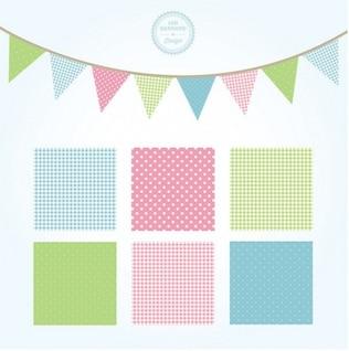 Patrones cuadrados decoradas con tonos suaves