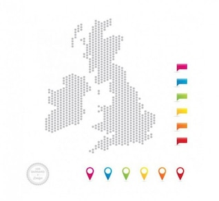 Uk mapa de puntos con alfileres de colores del mapa