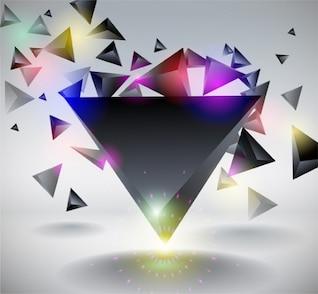 Triángulos brillantes que flotan con reflejos