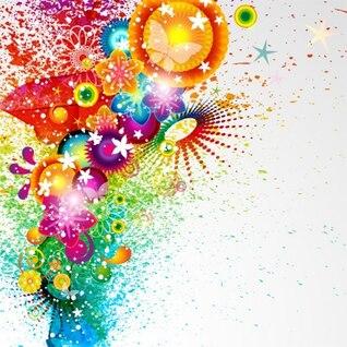 Abstracta de colores vector floral explosivo