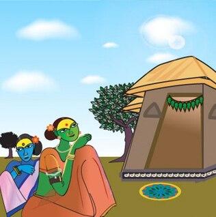 Indian Village fondo simple de dibujo vectorial