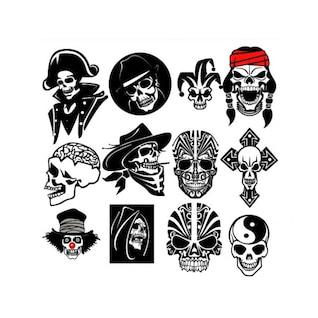 Cráneo del pirata de paquete de vectores de caracteres