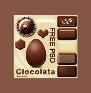 moderno paquete de chocolate ilustrador vectorial