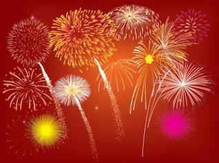 Explosión de fuegos artificiales celebración elementos ligeros