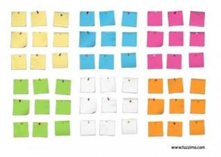Las notas adhesivas, cuatro colores diferentes, ilustración vectorial