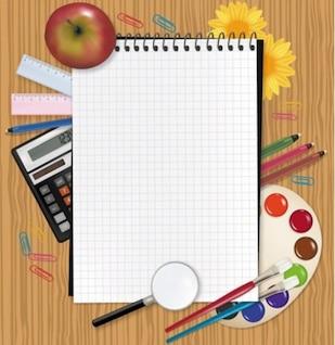 Bloc de notas de color paletas calculadora lápiz elemento del vector
