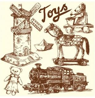 Pintado a mano dibujo con juguetes antiguos