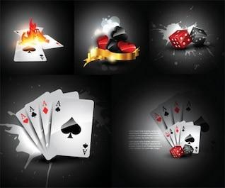 Conjunto de elementos de casino con cartas y dados
