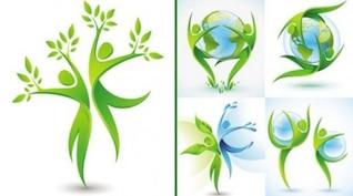 Ecológica de fondo con formas verdes bailando