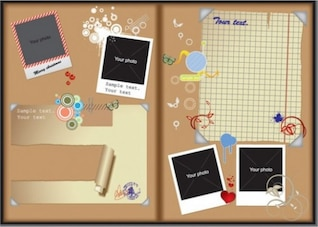 Plantilla de la tarjeta del corcho para las fotos