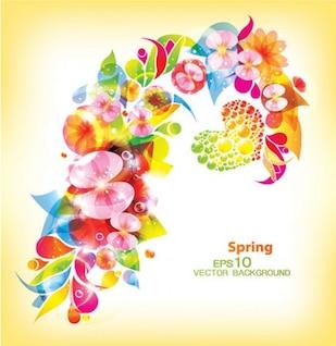 Primavera florecimiento patrones de vectores de fondo
