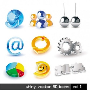 3d mobile icon set vítreo