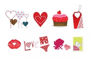Corazón gráfico icono vector valentines establecer