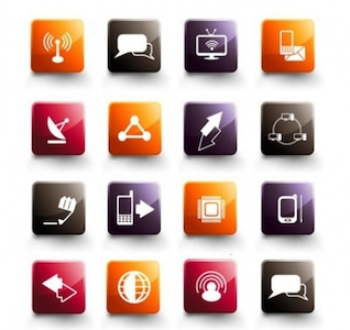 Iconos de la tecnología artículos de medios sociales