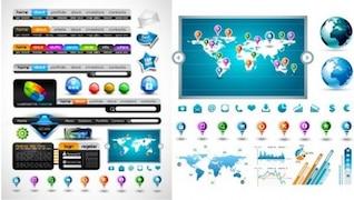 Menú de navegación colorida y elementos de la interfaz web