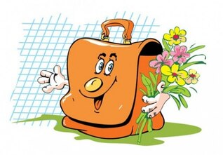 Bolsa de dibujos animados feliz con ramo de flores
