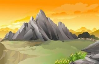 Fondo con la montaña sunset vector paisaje escena
