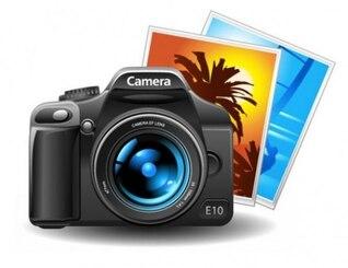 Cámara de fotos de alta calidad con cuadros de la foto