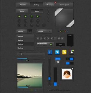 Paquete de elementos de la interfaz web personalizados negro