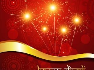 Colorido festivo fireworks artístico conjunto de vectores de fondo