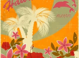 Hawaiano retro de fondo de vacaciones conjunto de vectores