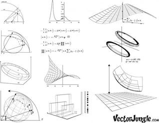 Ecuaciones y gráficas wireframe Ilustración conjunto