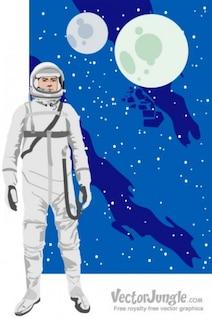 Astronauta espacio retro estilo de fondo de dibujos animados
