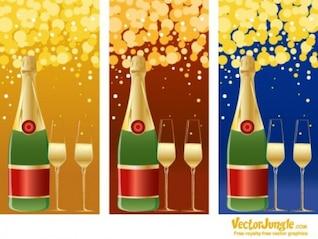Botella de champán y copas