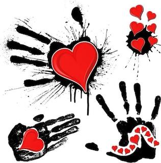 Huella de tinta y corazones.