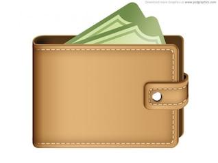 Dinero en la billetera de icono (PSD)