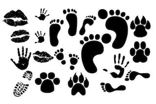impresión de las huellas del labio huellas de las manos vector de imprenta del zapato