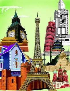 países en el vector de la ciudad famoso edificio